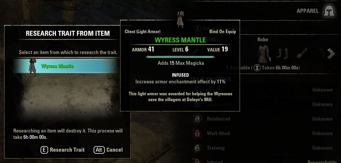 ESO crafting research and traits