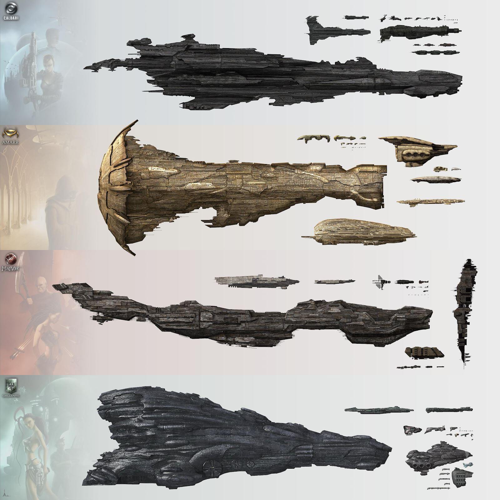 Caldari, Amarr, Minmatar and Gallente visual ship comparison