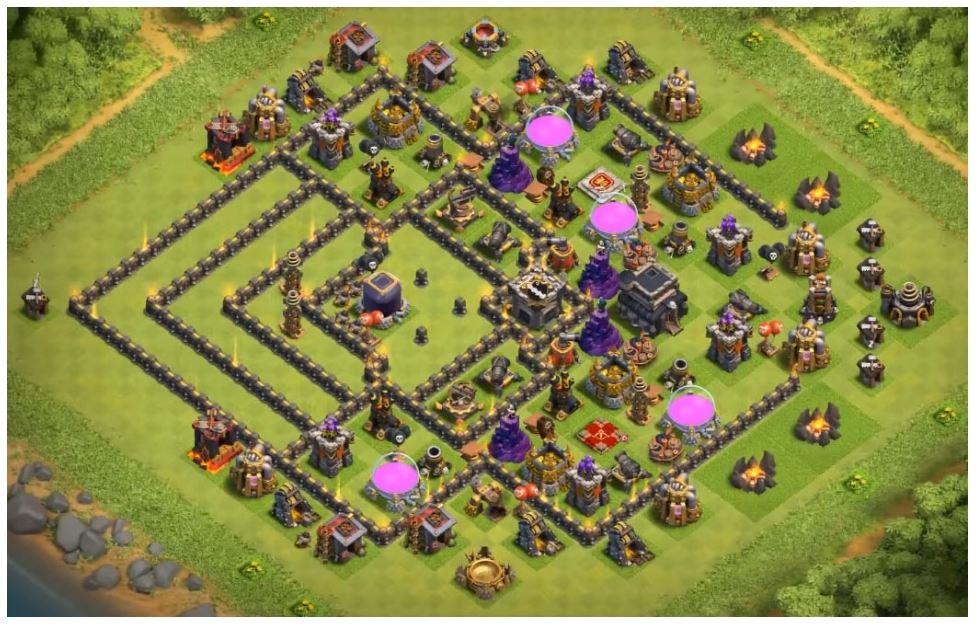 coc th9 de farming layout