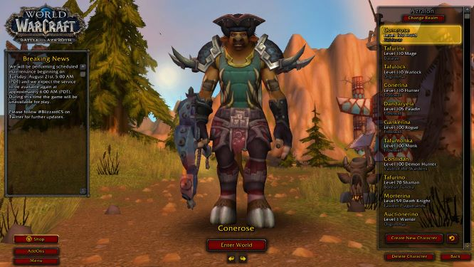 120 Druid and other levels 110 AND BATTLE NET ACCOUNT