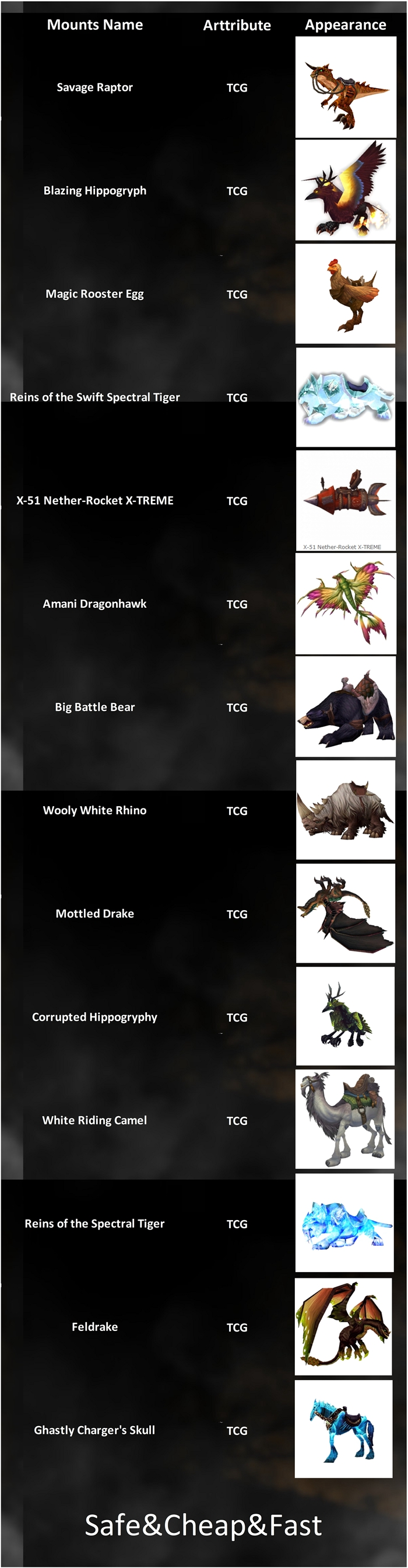 WTS WOW US TCG Mounts.Safe&Cheap&Fast!