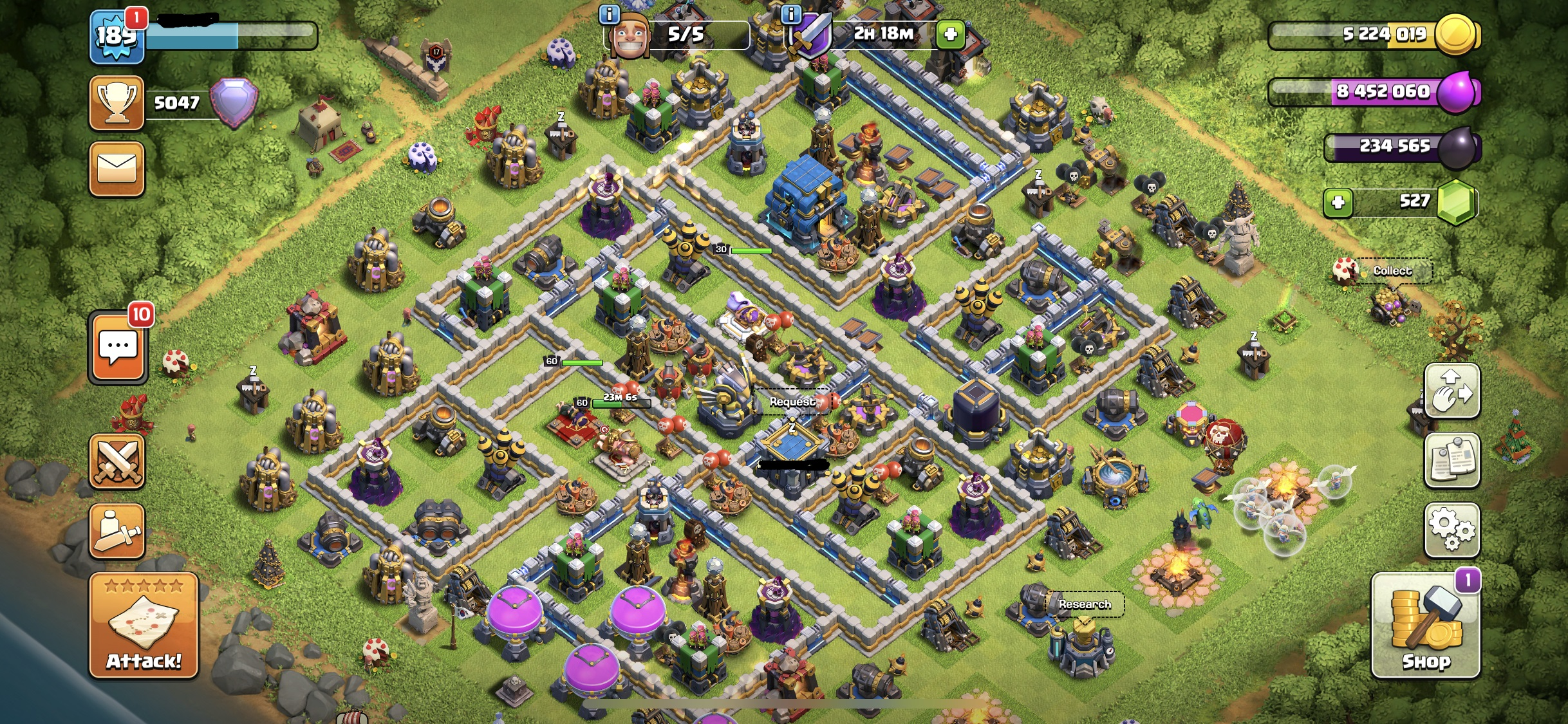Clash of Clans Max Heroes/Spells only Walls left