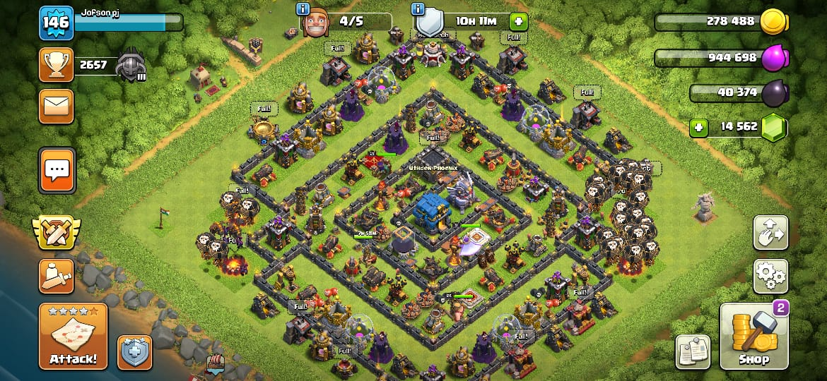 TH 12, lvl 146, GEMs 14600 ..th11 maxed troops, king 24 lvl , queen 21 lvl, GW 10 lvl,quick delivery