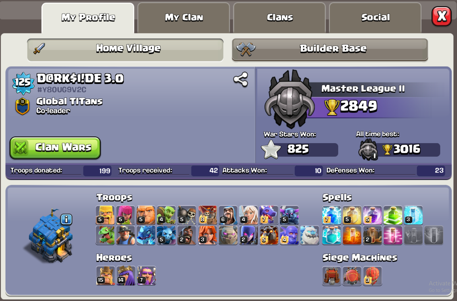 TH12 war base.... K15 Q14 GW07 LVL 125 troops almost maxx.. Made for war