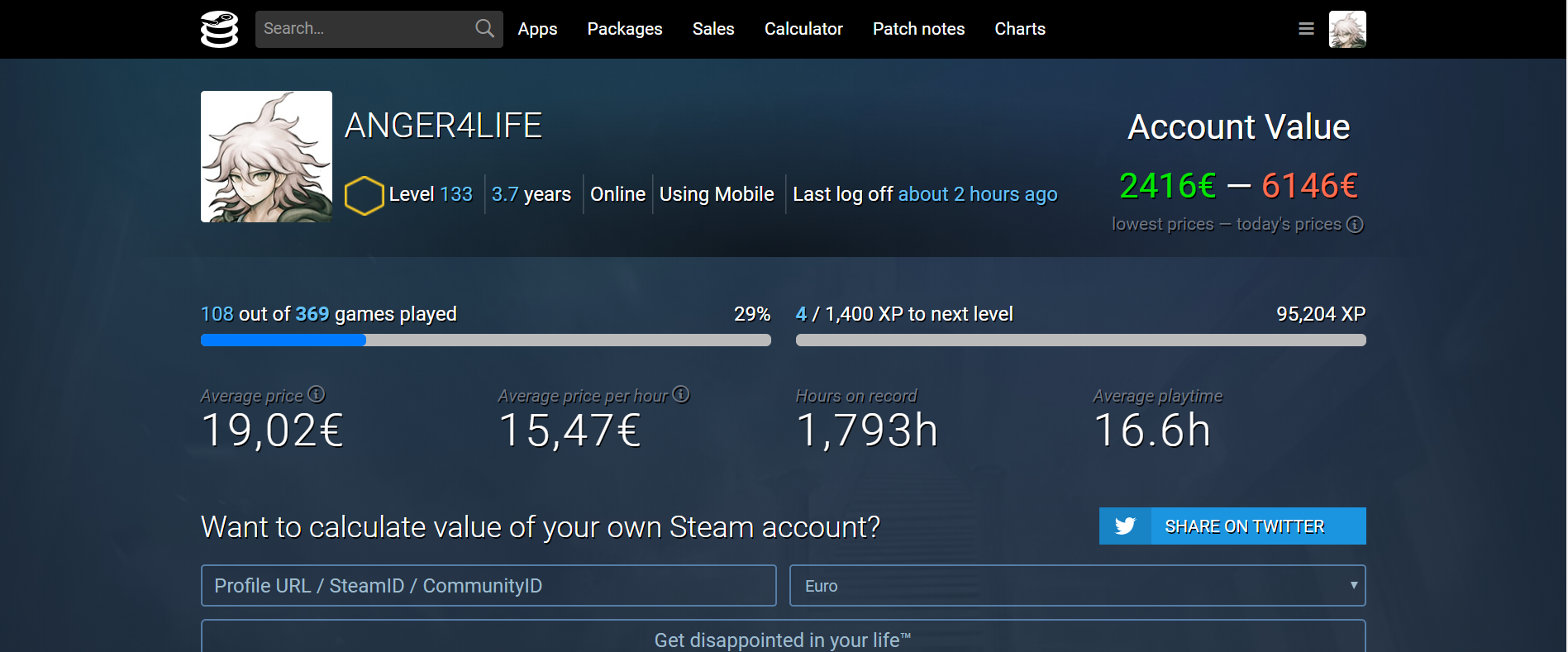Steam account 369 games, over 6000$ value