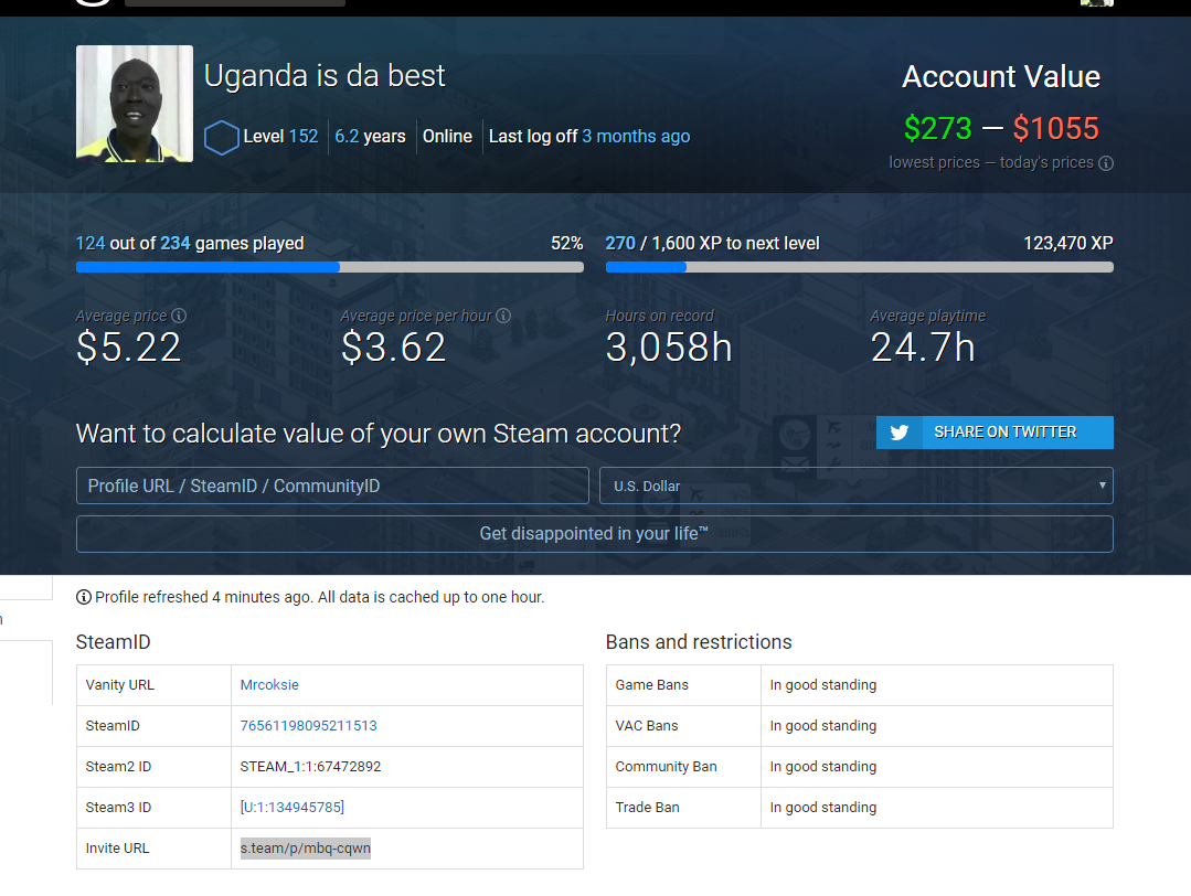 LEVEL 152 STEAM ACCOUNT WORTH 1055. USD