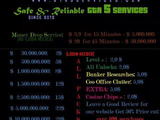 25$ Pack: 5.000Bil Bank+ Rank1-500 + All Unlocks + Max Stats + 7days warranty   www.gta5services.com