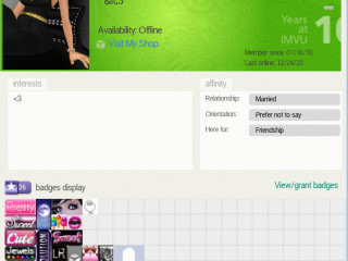 Imvu GF Account since 2010 It Has Chatroom Slots and badges And its Creator forever
