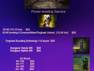 WTS Powerleveling 50-60 +covenant/maw/torghast unlock 171ilvl +soulash